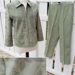 Alfred Dunner Pale Green Pants Suit Jacket Set